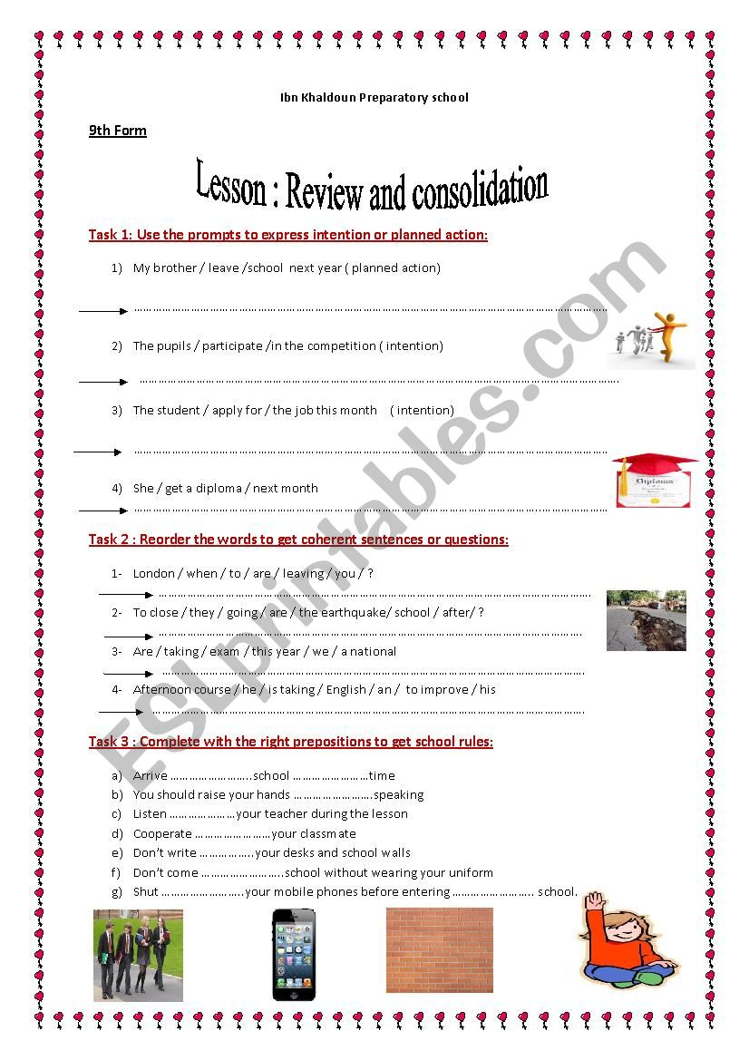 REVIEW AND CONSOLIDATION worksheet