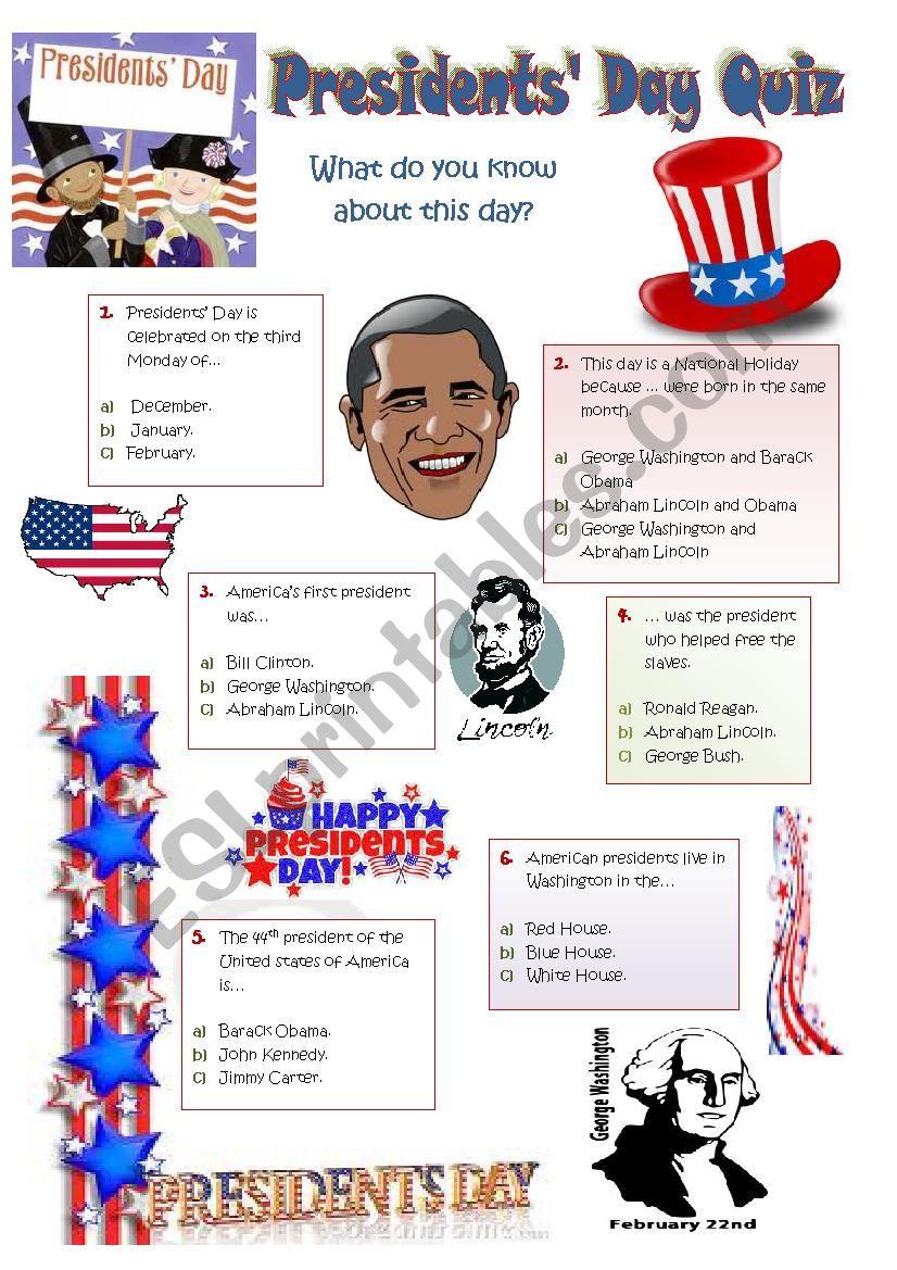 PRESIDENTS´ DAY - 18th February 2013 - a quiz