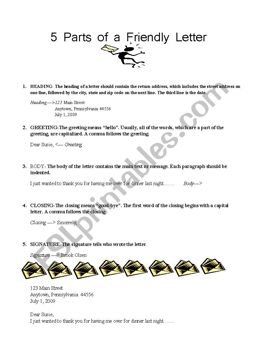 5 Parts Of A Friendly Letter Esl Worksheet By American Teacher
