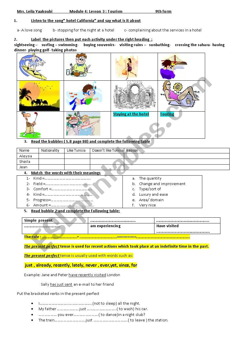 module 4: Lesson3: Tourism worksheet