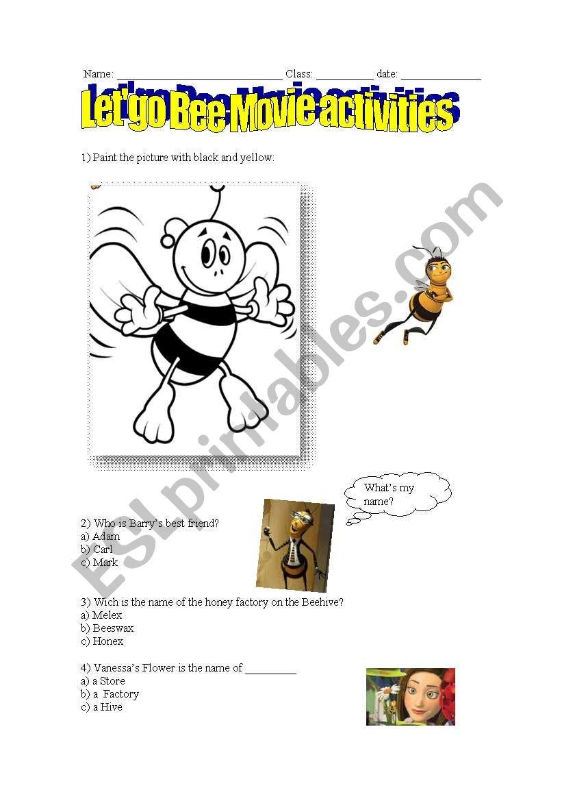 Bee movie activities worksheet