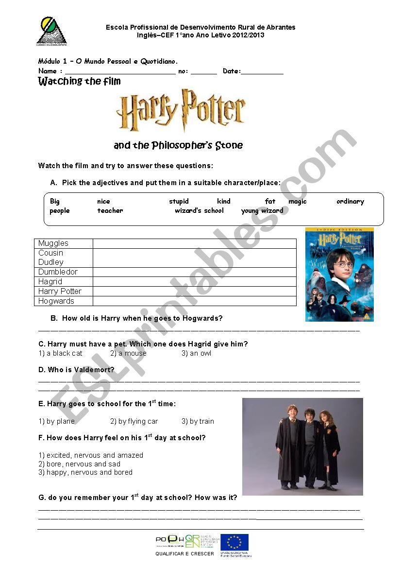 Harry Potter movie worksh - ESL worksheet by lunanab