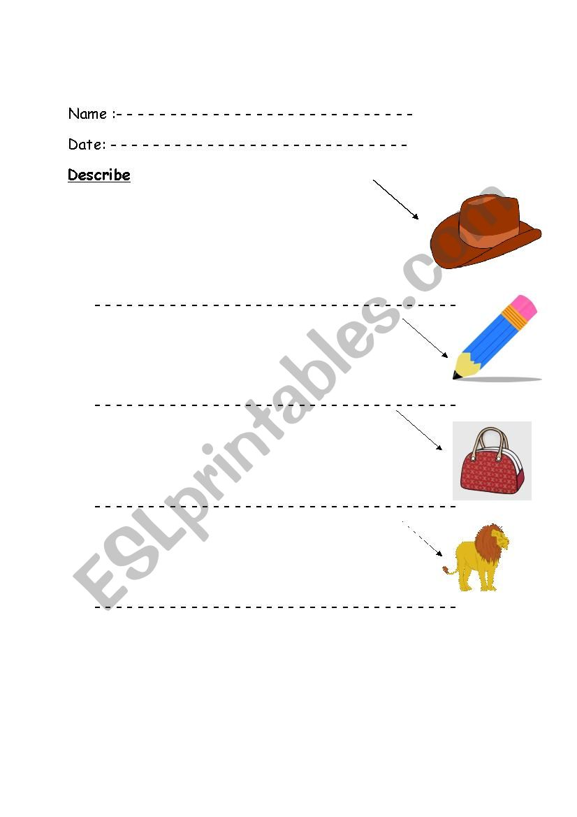Describe the pictures worksheet