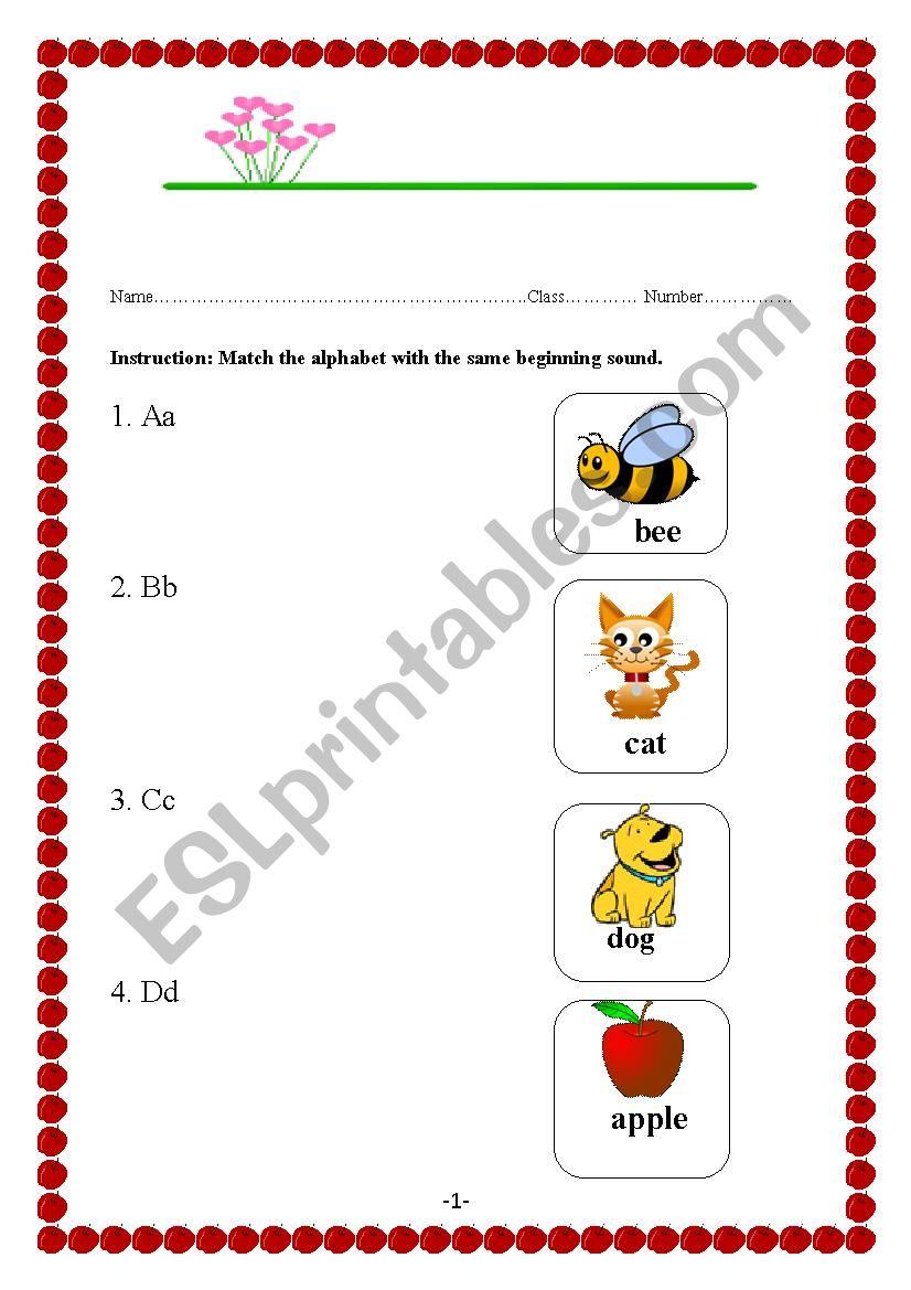 Alphabet & Vocabulary worksheet