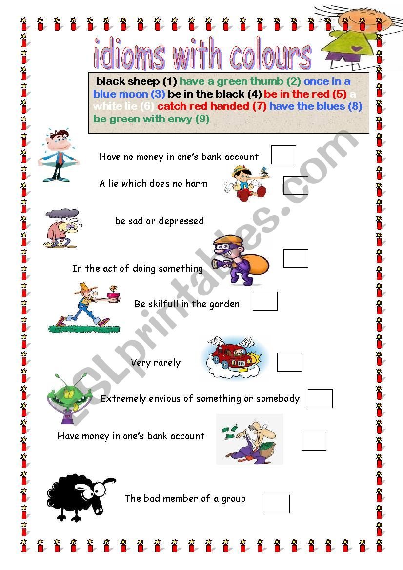 Idioms with colours worksheet