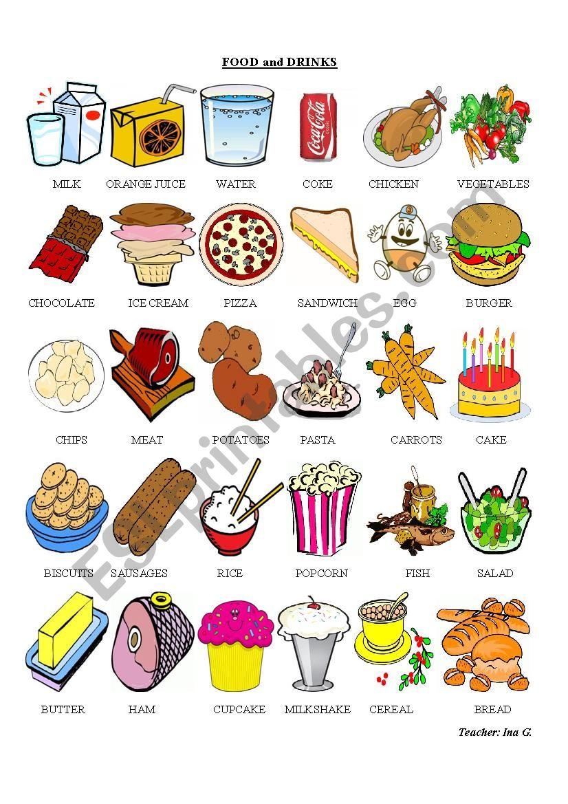 Food Pictionary worksheet