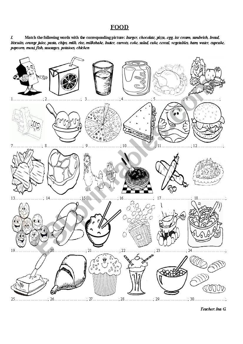 Food Exercises worksheet