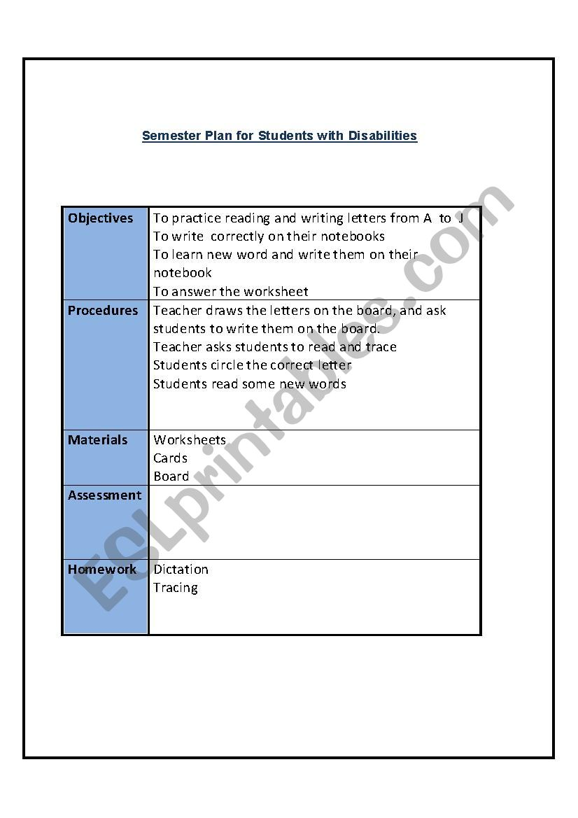 semester plan worksheet