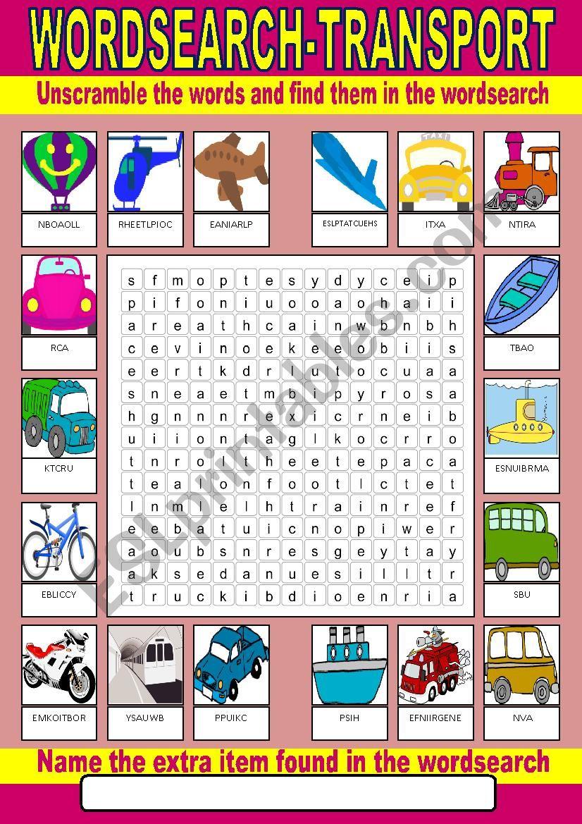 Transport Wordsearch worksheet