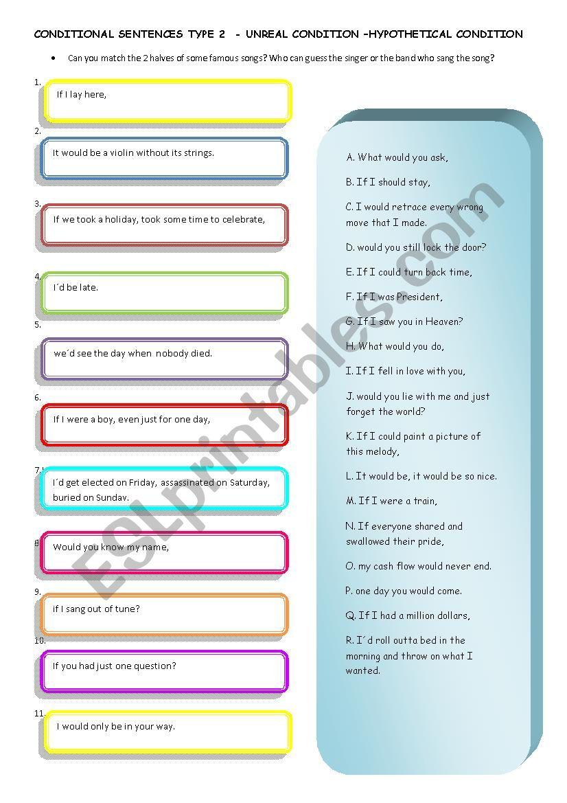 Conditional Sentences Type 2 Through Songs