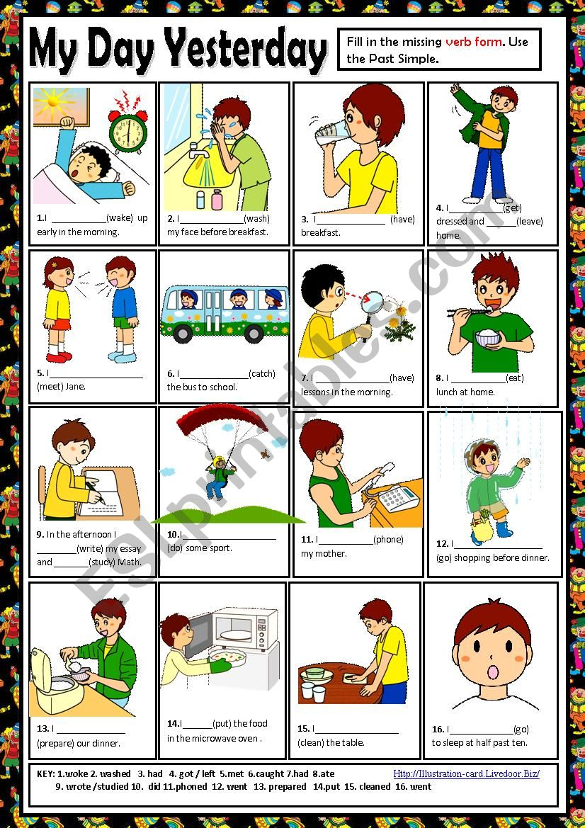Yesterday Seems To Have Been My Day For >> My Day Yesterday Esl Worksheet By Macomabi