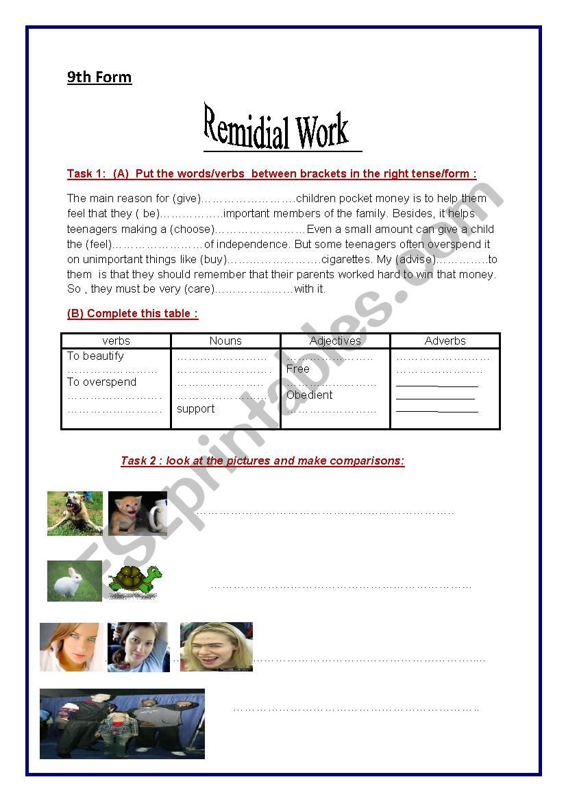 Remidial work worksheet