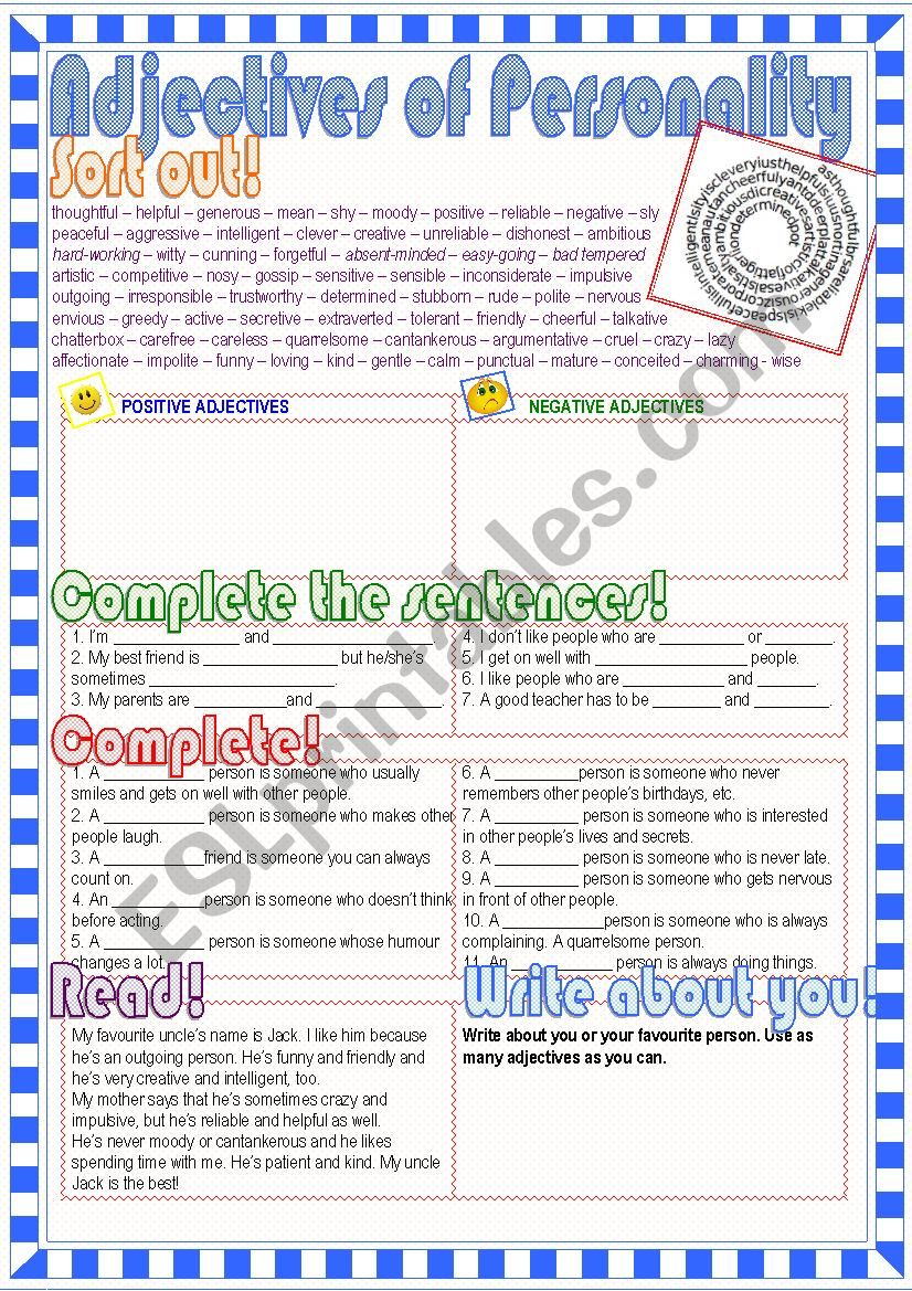 Adjectives of Personality worksheet