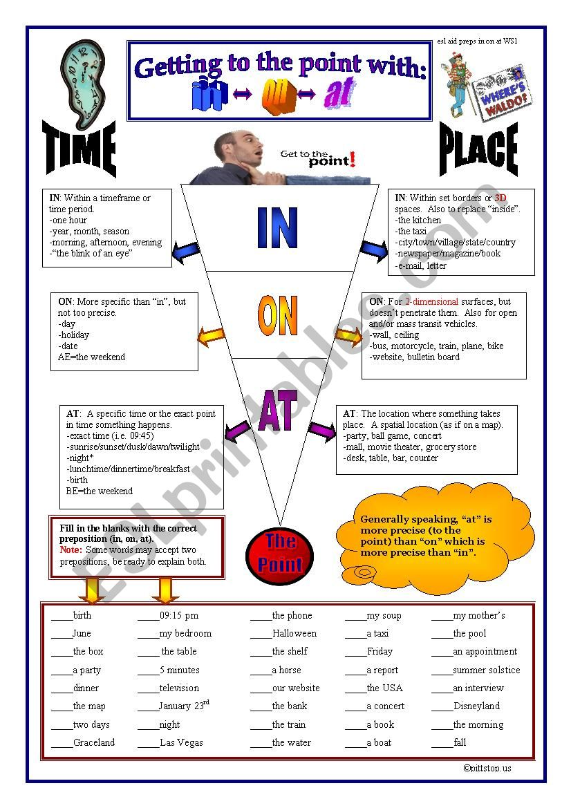 Prepositions: In,On, At (place and time)