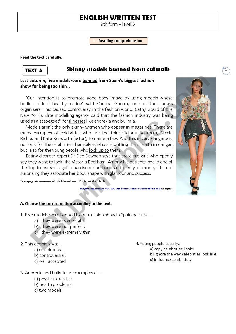 Written Test - 9th form, level 5