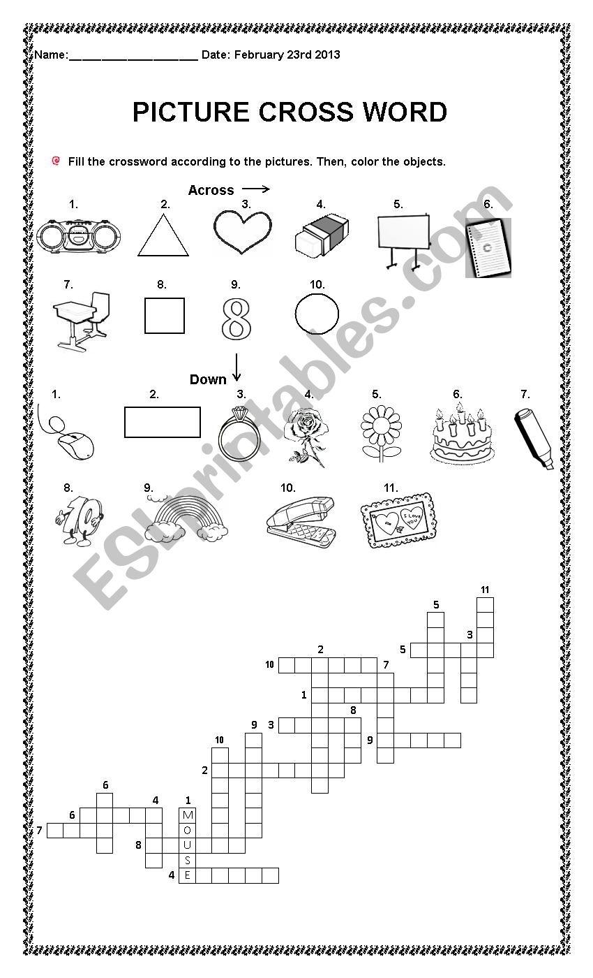 Vocabulary crossword worksheet