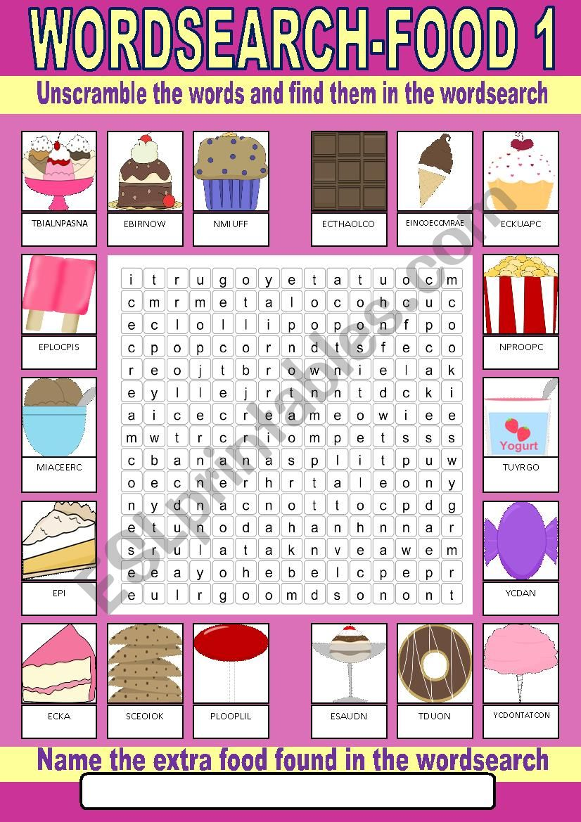 Food (desserts) Wordsearch worksheet