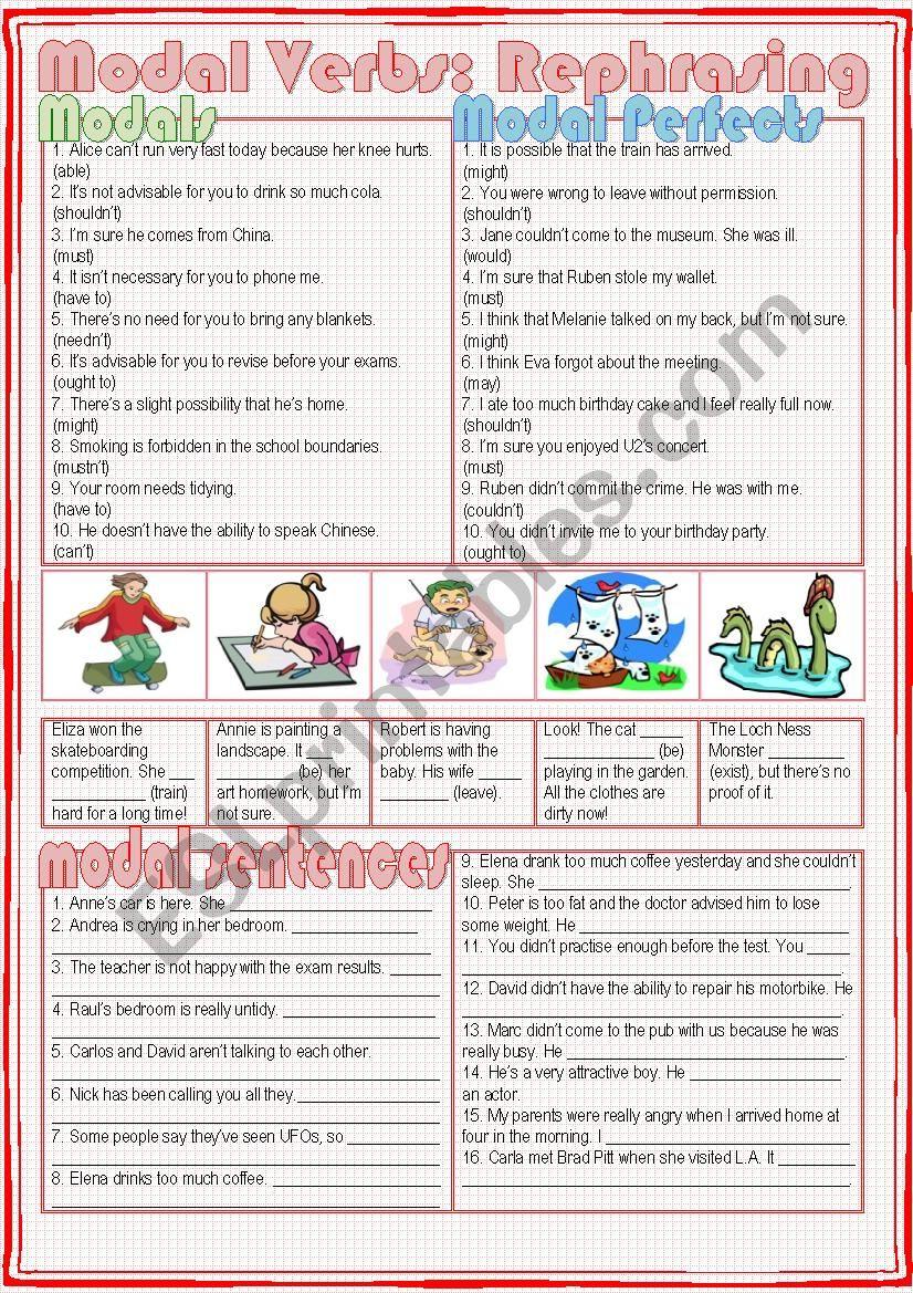 Modal Verbs: Rephrasing worksheet