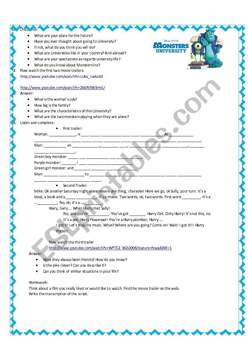 Monsters University - ESL worksheet by teacherlucre