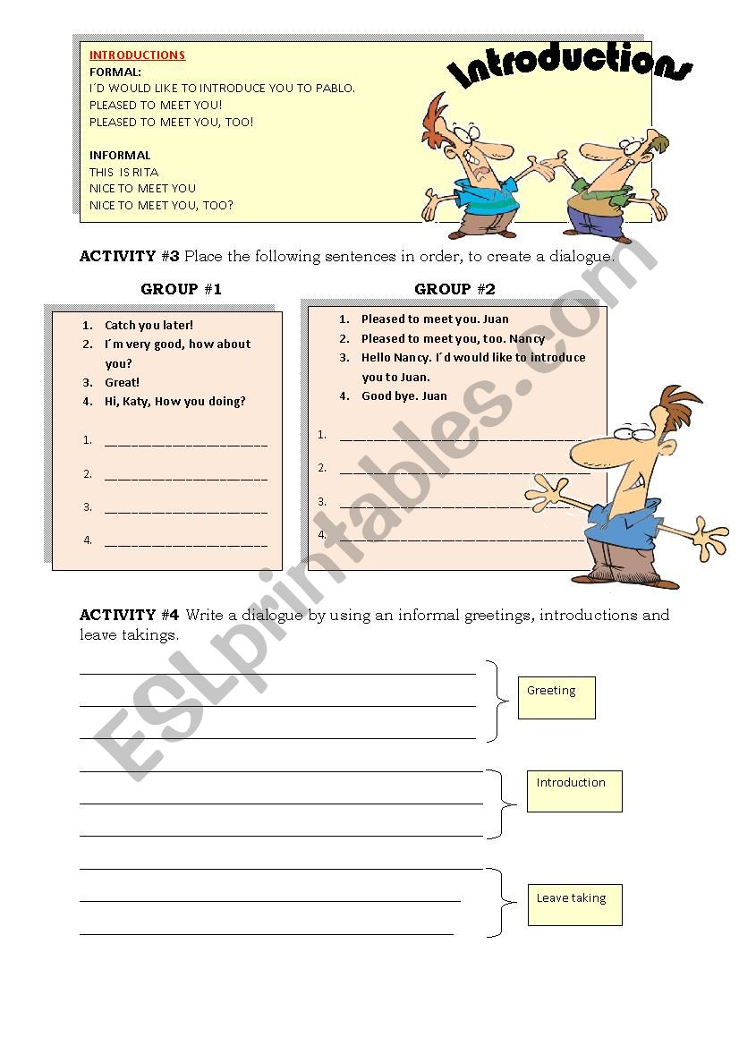 Greeting Introduction And Leave Takings Part2 Esl Worksheet By Indca
