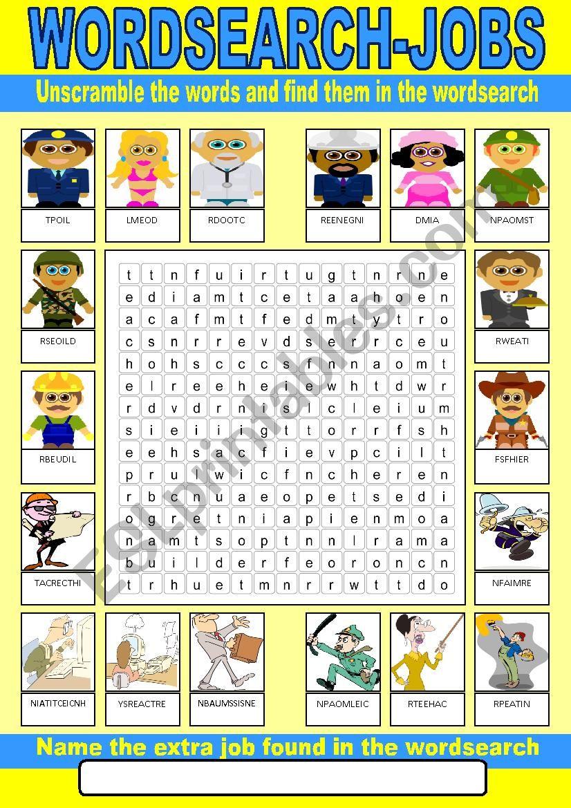Occupations Wordsearch worksheet