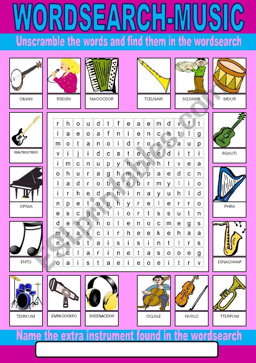 Music Wordsearch worksheet
