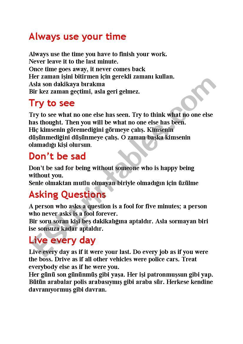 proverb worksheet