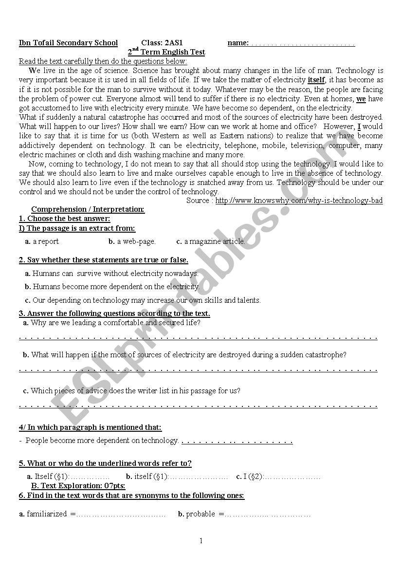 exam worksheet
