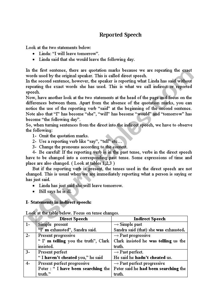 Reported Speech Theory worksheet