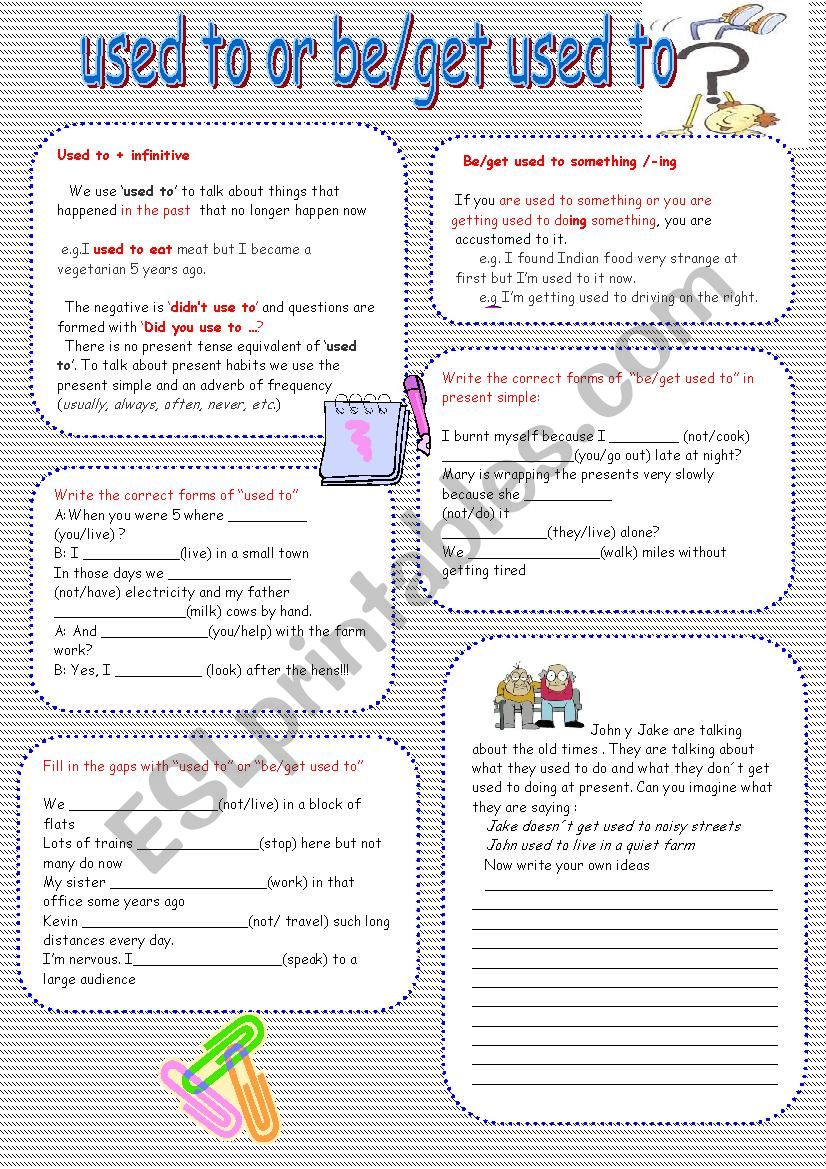 used to vs be/get used to   worksheet