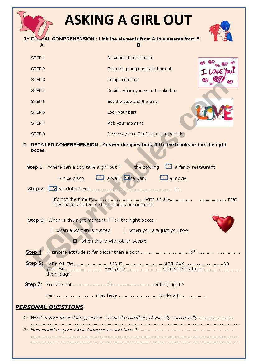 Video- How to ask out a girl worksheet