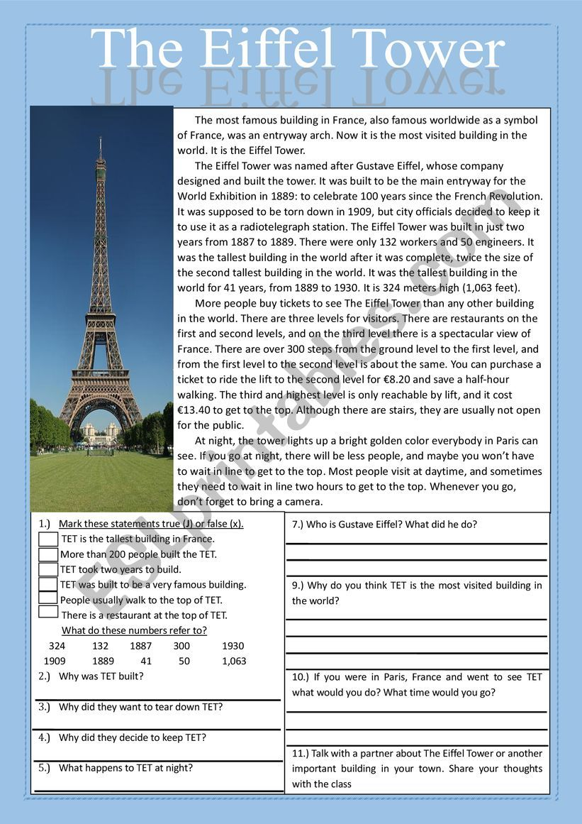 - The Eiffel Tower Reading Comprehension Practice Exercises - ESL