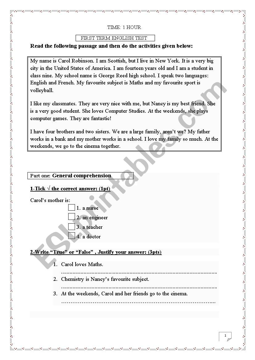 Test For Secondary School Students Esl Worksheet By Nahla8