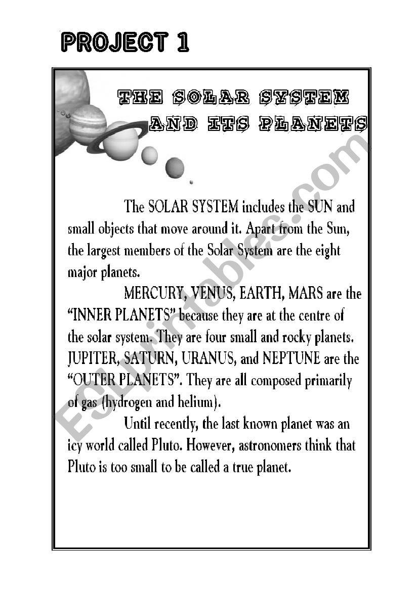 The Solar System Esl Worksheet By Carover