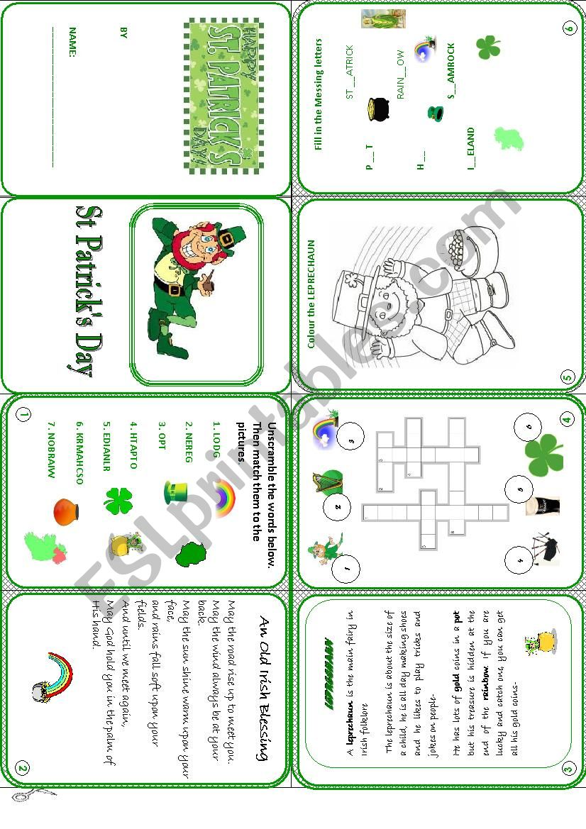 St Patrick´s Day mini book worksheet
