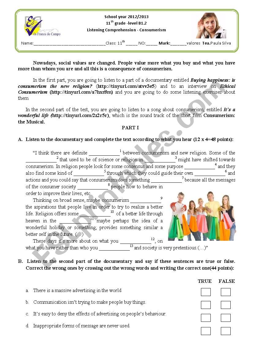 Consumerism-listening test worksheet