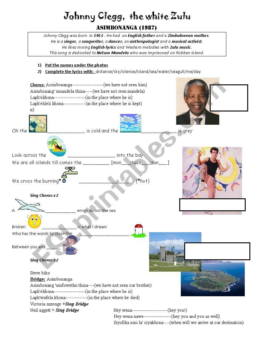 Johnny Clegg - Asimbonanga worksheet