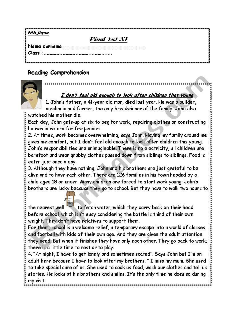 final test N1 worksheet