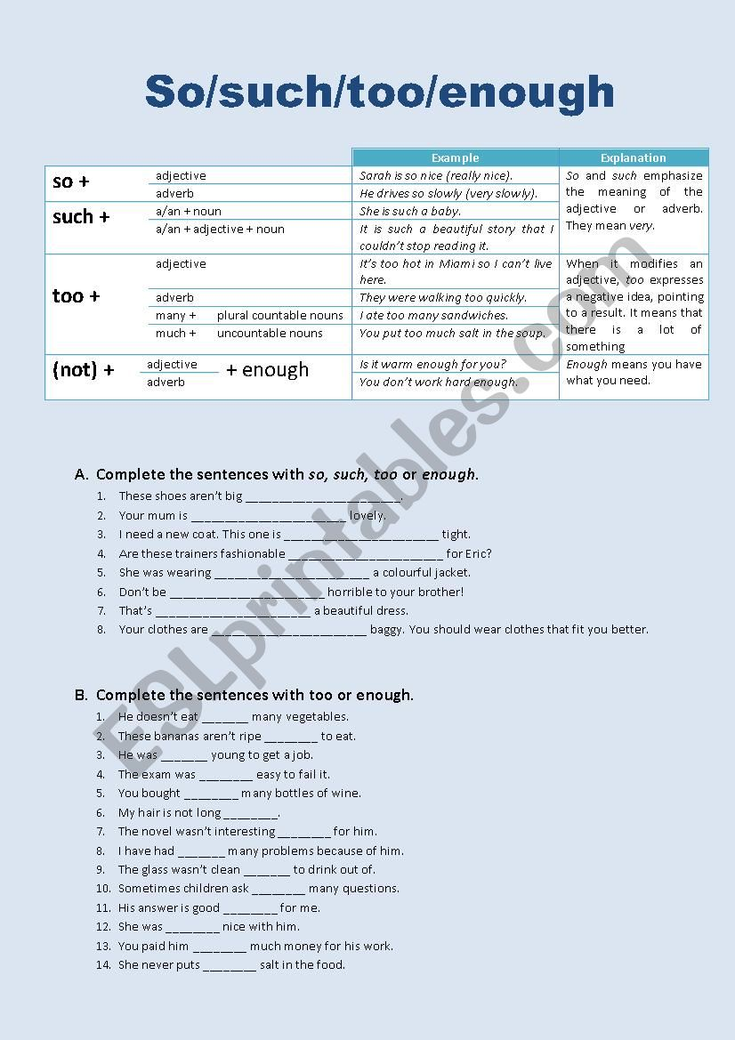 So/such/too/enough worksheet