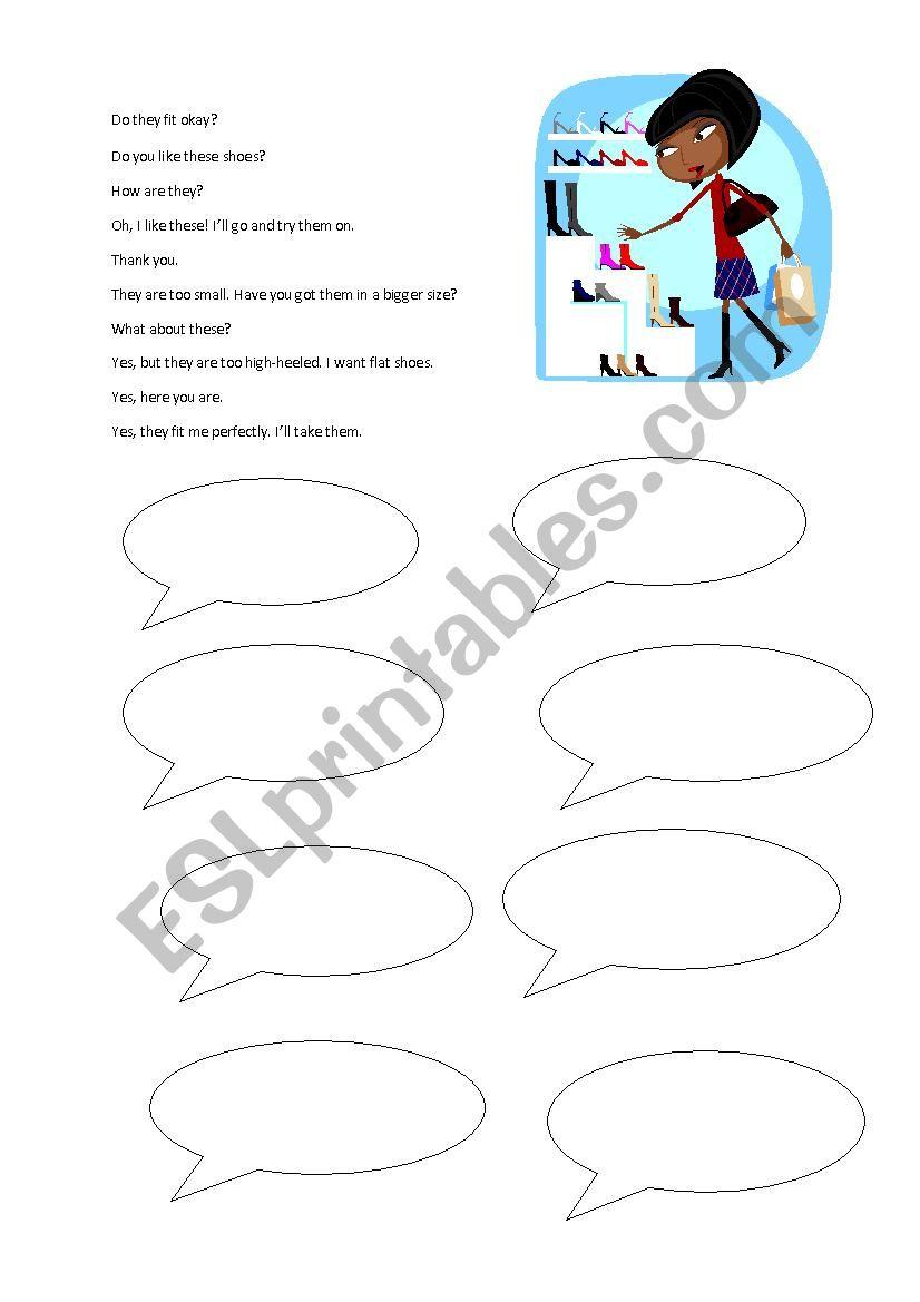 Shopping conversation worksheet