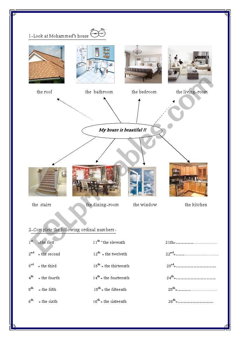 house´s rooms and ordinals worksheet