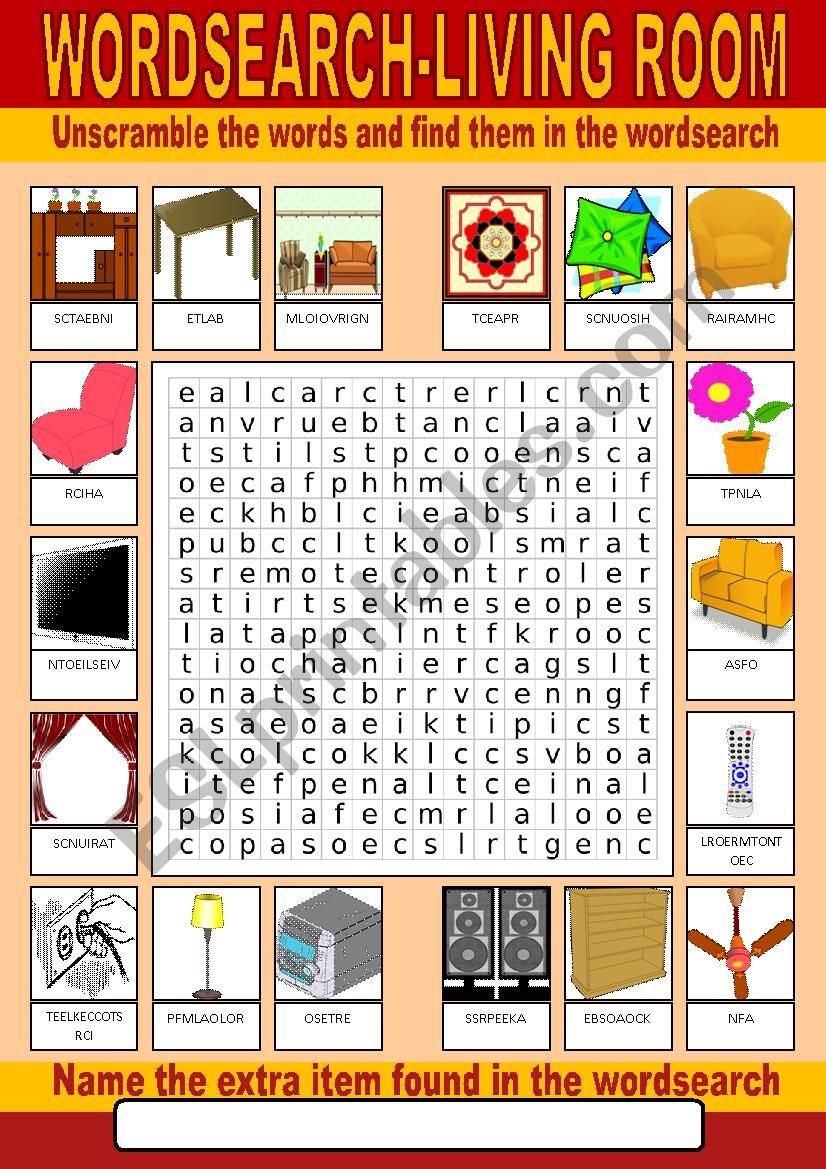 Living Room Wordsearch - ESL worksheet by photogio