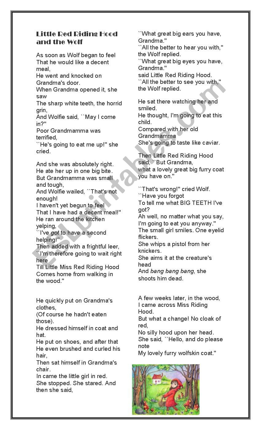 Poem By Roald Dahl Reading Discussing Reported Speech Esl