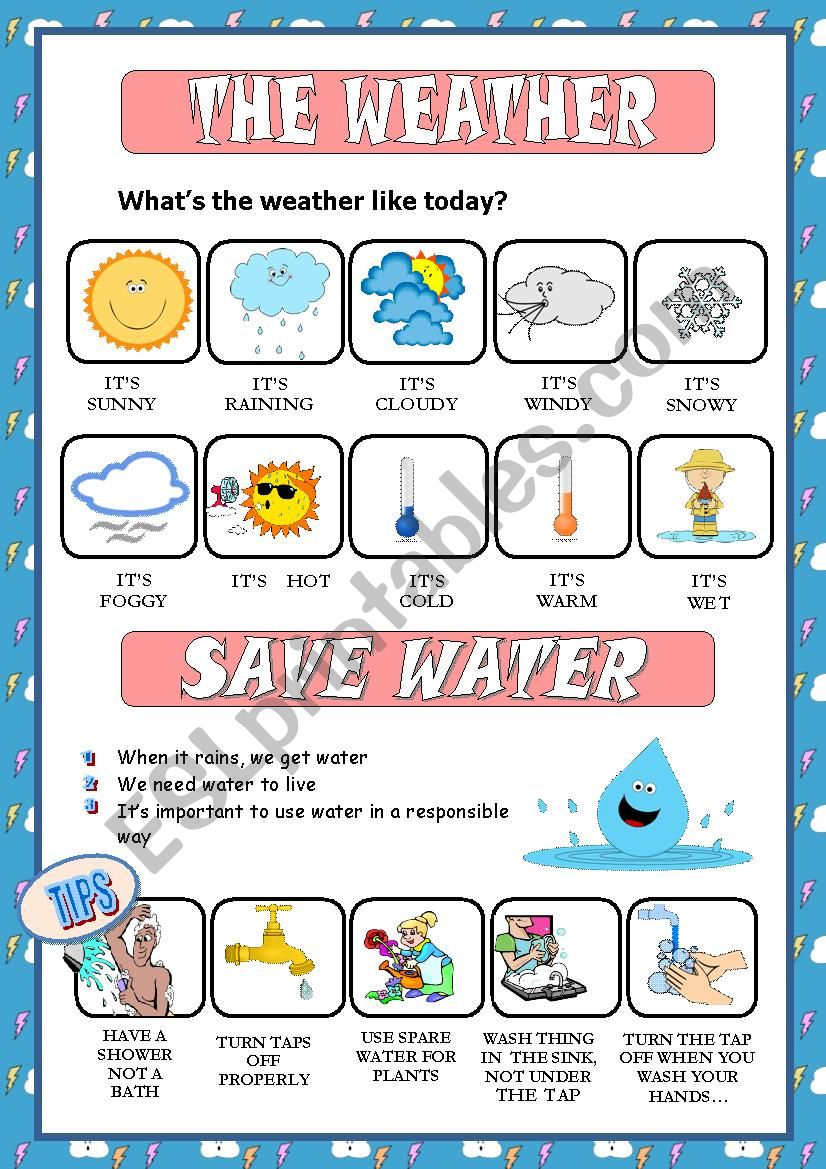 WEATHER + SAVE WATER PICTIONARY