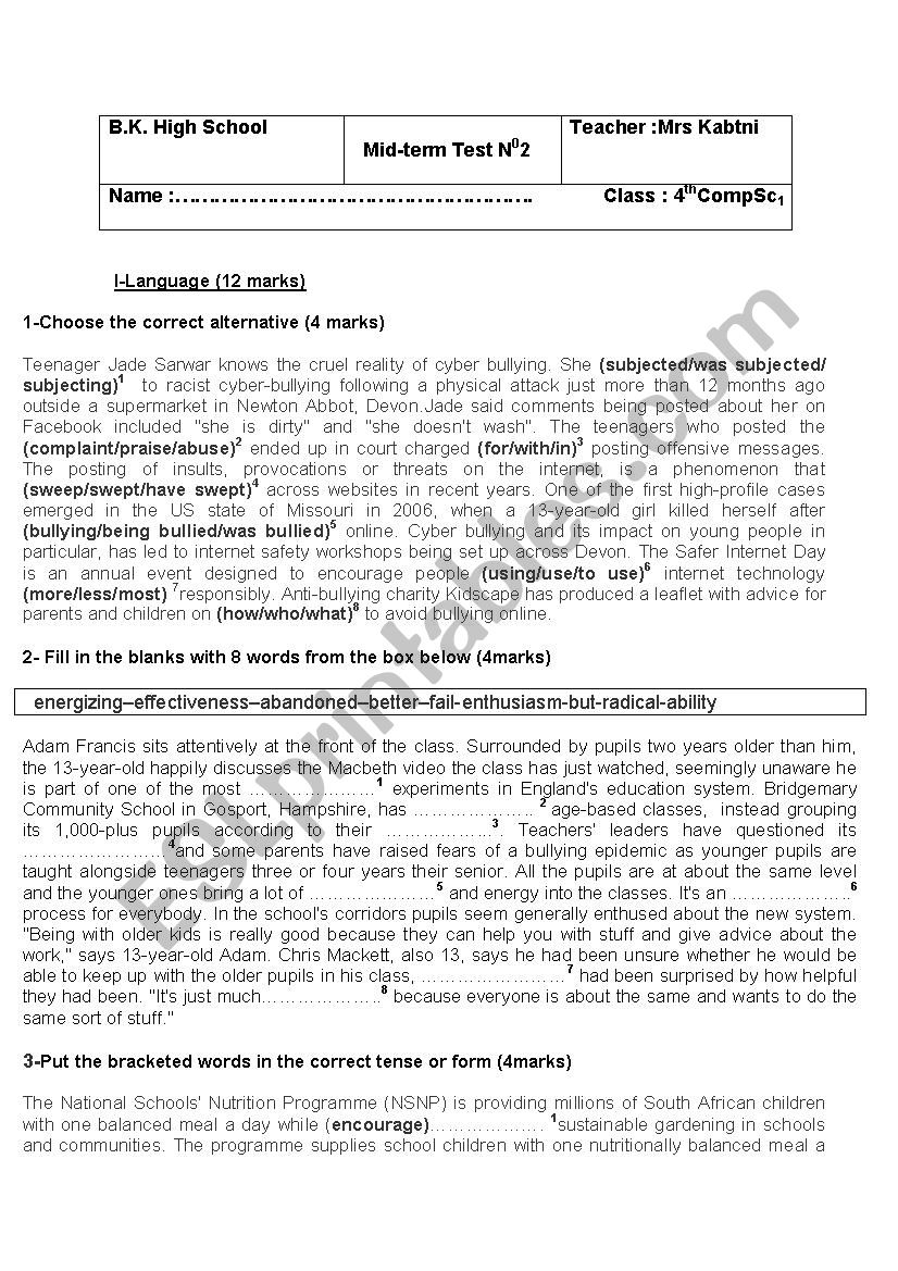 mid-term test 2 -4th form - ESL worksheet by Imenk