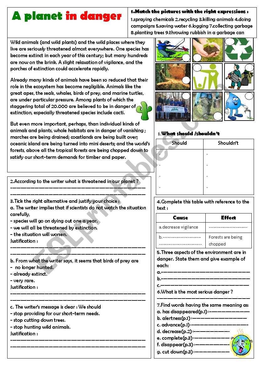 our earth is in danger worksheet
