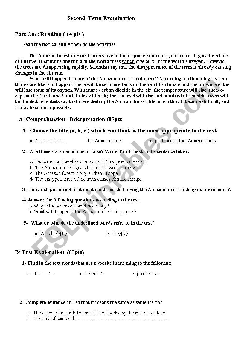 examination  worksheet