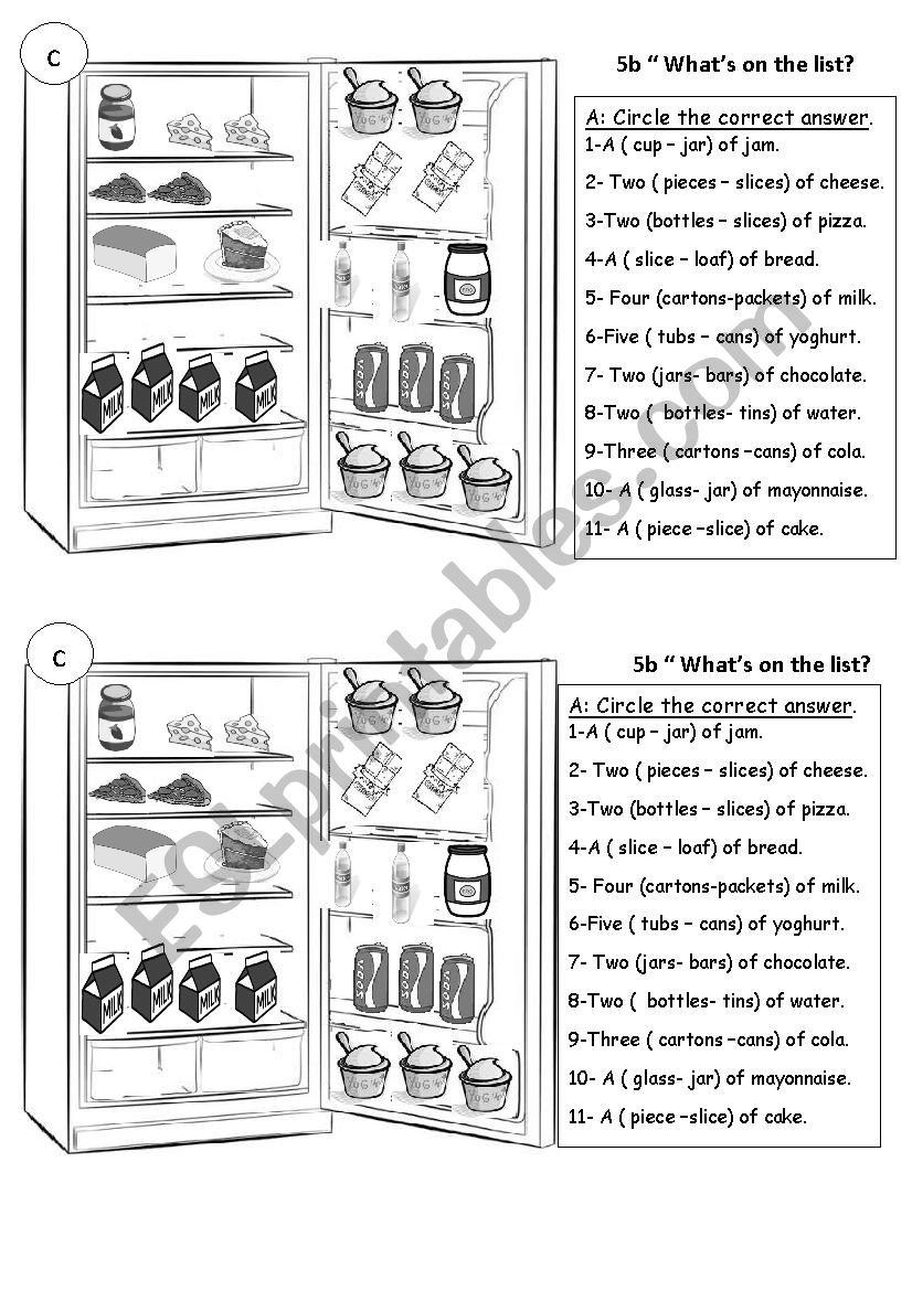 FOOD AND QUANTIFIERS worksheet