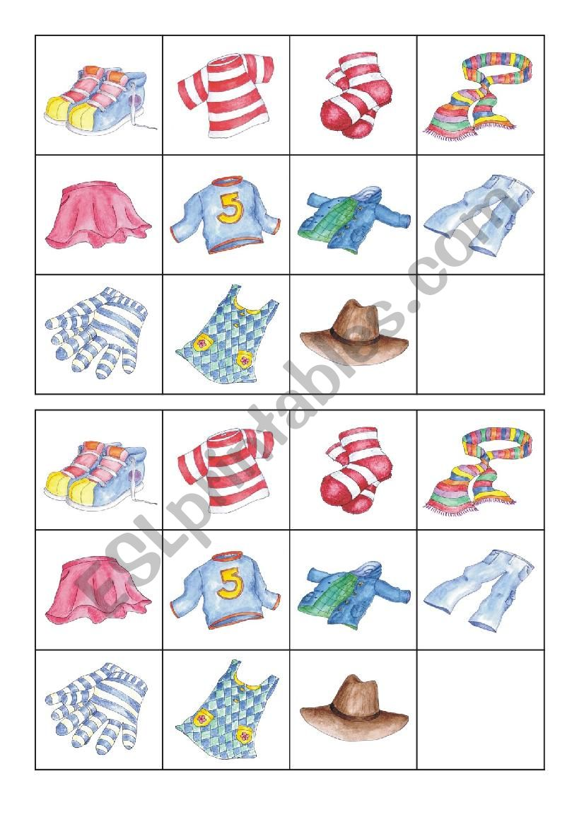 clothes memory worksheet