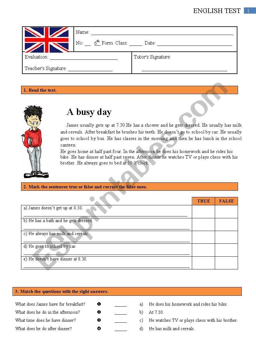 Test - 6th grade 1/2 worksheet